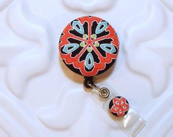 Id Badge Holder - Badge Reel - Retractable Badge Holder - Badge Lanyard - Nurse Badge Id Reel - Flower Badge Reel