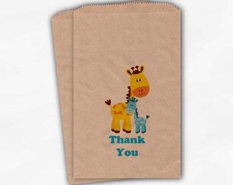 Giraffe Baby Shower Favor Bags - Boy or Girl Custom Kraft Paper Treat Bags for Baby Shower - 25 Paper Bags (0024)