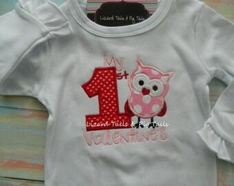 My 1st Valentine Shirt Girly Owl Shirt Valentine Owl Girls Valentine Shirt