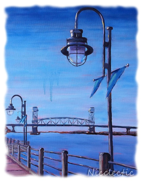 Wilmington, NC print from original art watercolor paper, Riverwalk, downtown Wilmington North Carolina art lamp post, Cape Fear River bridge