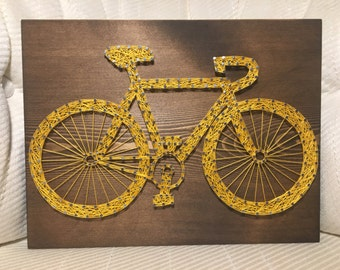 CUSTOM Bicycle String Art Sign, Bike Art, Personalized Gift, Sports, Cyclist, Birthday Gift, gifts for her, Christmas Present, Fathers Day