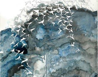 Birds in Storm, Watercolour Art Print
