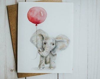 Baby Girl Elephant Card, Pink, Watercolor Elephant, Baby Announcement, Baby Card, Watercolor Art, Note Card