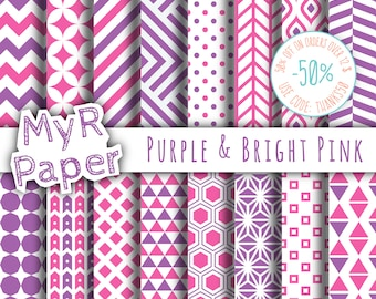 """Geometric Digital Paper Pack: """"Purple & Bright Pink"""" geometric patterns for scrapbooking, invites, cards - printable - Backgrounds"""