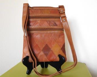 Vintage 1990s Mini Leather Crossbody Patchwork Western Brown Fall purse Zipper bag Diamonds Autumn purse