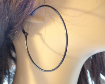 2.25 inch BLACK hoop earrings Thin Hoop Earrings Circle Hoops