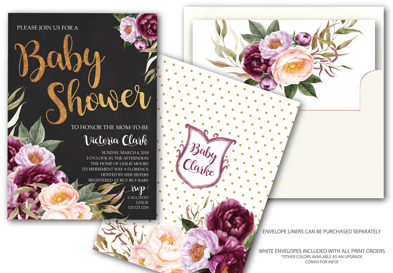 Burgundy Floral Baby Shower Invitation Elegant Chalkboard Purple ...
