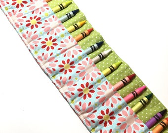 Crayon Roll, Crayon Holder, Crayon Roll-Up, Big Sister Gift, Girl Birthday Gift, Easter Basket, Ribbon Tie Closure, 16-count Crayons