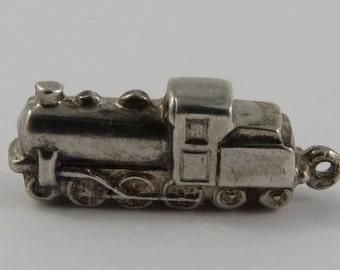 Old Fashioned Locomotive Train Engine Sterling Silver Vintage Charm For Bracelet