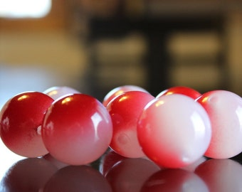 8 XL chunky  jelly style acrylic beads, 24 mm, red with pink, hole 3 mm