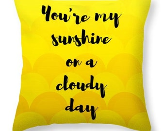 On a Cloudy Day - sunny yellow accent pillow, dorm decor, home decor, pillow cover, scatter cushion, throw pillow, encouraging words