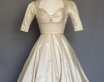 Champagne Silk Dupion Fifties Bustier Wedding Dress with Circle Skirt - Made by Dig For Victory