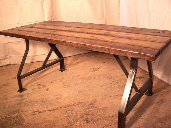 Exceptional Factory Work Table With Industrial Metal Base And Reclaimed