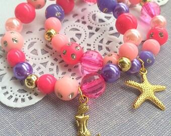 Mermaid bracelet, starfish bracelet, mermaid jewelry, starfish jewelry, party favor, kids birthday, Set of TEN.