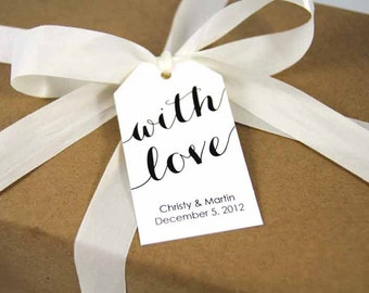 With Love Tag - Wedding Favor Tag - Shower - Wedding Favors - Baptism Tags - Custom Tag - Large Size - 36 Pieces - 3.5 x 2 inches