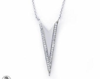 Diamond Chevron Necklace, Dainty Necklace, 14kt White Gold Arrow Necklace, 14 Karat Chevron Necklace With Pave Diamonds| NEC01855