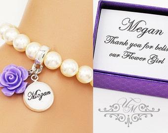 FREE TEXT Wedding Jewelry Name Bracelet Flower girl Bracelet Resin flower Bracelet Swarovski Pearl Bracelet Initial Bracelet Monogram