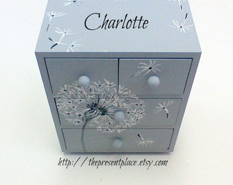 hand painted 4 drawer wooden jewelry box,dandelion jewelry box,grey dandelions,gray,personalized jewelry box,girls jewelry box,childrens box