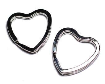 4pc - silver Metal key rings quality 33mm - 8741140005129 hearts