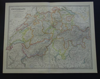 HOLLAND large old map of The Netherlands and Belgium 1890