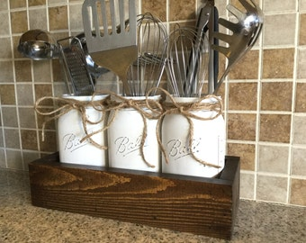 Rustic Kitchen Decor, Utensils Holder, Mason Jar Utensils Holder, Rustic Kitchen Organization, Mason Jar Kitchen Decor, Kitchen Organization