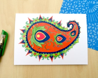 Colourful Paisley Greetings card