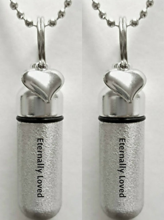"""Set of 2 ENGRAVED Brushed Silver CREMATION URN Necklaces """"Eternally Loved"""" with Heart charm - Includes Velvet Pouches & Fill-Kit"""