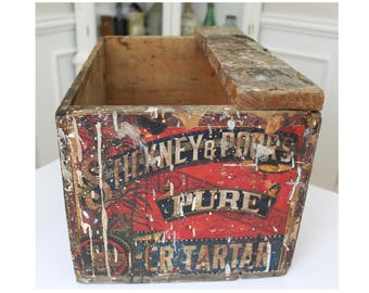 Vintage Stickney & Poor's Pure Cream of Tartar Wooden Shipping Crate Wood Box Advertising