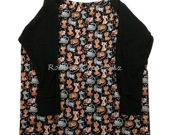 FREE SHIP!!  Long Sleeve Full Body Cat Kittens Kitty  Bib Full Coverage Lined Black Sleeves