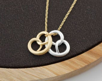 Pretzel Knot bread necklace, Food Necklace, Pretzel Necklace