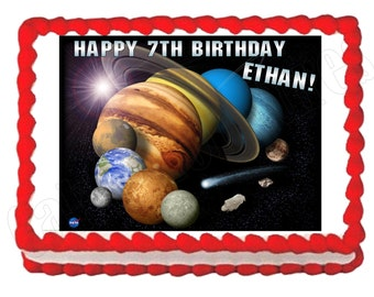 Solar system Planets Outer Space party decoration edible cake image frosting sheet