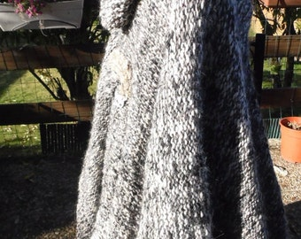Black and white mohair Alpaca poncho