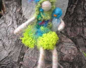 Wood Fairy with small Blue Bird, Original design by Borbala Arvai