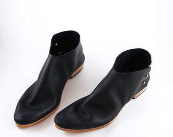 The Karina. Black. 2cm. Handmade Ankle Boots. Soft Shoes. Comfort Shoes.