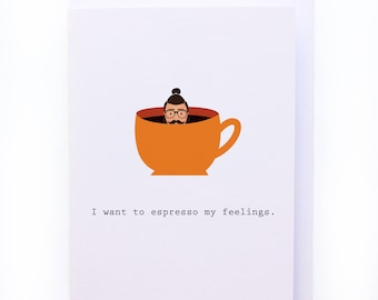 Hipster espresso my feelings - Coffee lover cards - Greeting card