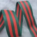 "1.5"" Striped  Webbing Red Green Webbing, Bag Strap Webbing,  Christmas Red Green webbing"
