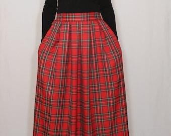 Red plaid skirt Tartan skirt Women maxi skirt High waisted maxi skirt with pockets