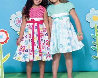 GIRLS CLOTHES PATTERN / Summer Dresses With Contrast Bodice / Party - Church
