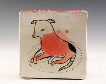 A Ceramic Square Plate by Jenny Mendes - Mr. Cloppenhopper