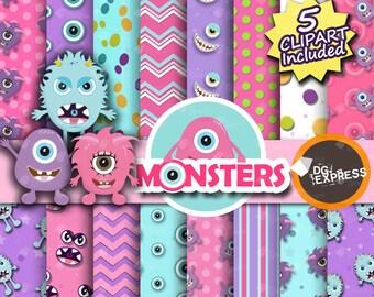 "Pink Monster Clipart + Digital Paper: ""Monster Girl Paper""- Monsters Clipart, Monsters Birthday Invitation, Monsters Printable, Commercial"