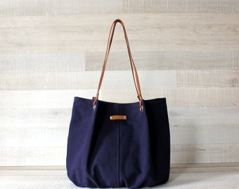 Tote Bag, Large Purse, Diaper Bag, Navy, Navy Blue, Dark Blue, Handbag, Bag, Genuine Leather Handles, Large Bag, Oversize Bag, Everyday Tote