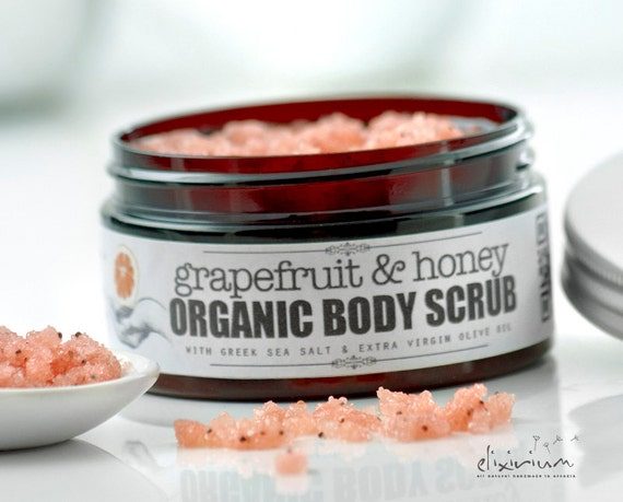 GRAPEFRUIT & HONEY Body Scrub • Salt Sugar Body Scrub, Greek Sea Salt body scrub, Organic Sea Salt exfoliator, Sugar scrub, Organic Peeling