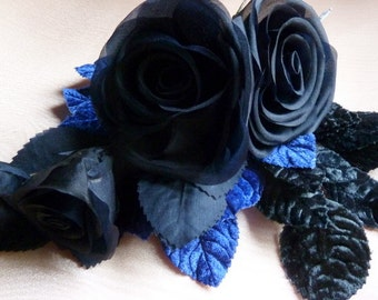 Midnight Blue Rose Large Silk Millinery Corsage for Bridal, Costume or Hat Design, Floral Supply MF123