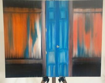"Original 16""x20"" oil painting , abstract wall art , rustic door, abstract art, contemporary art wall decor modern art canvas oil painting"