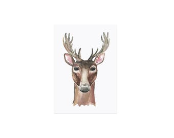 Postcard watercolor deer