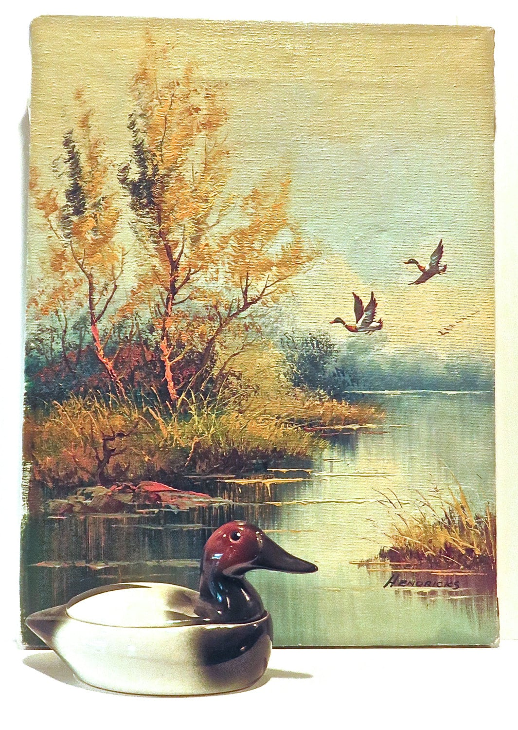 Original Oil on Canvas NatureScape Ducks Flying over Lake