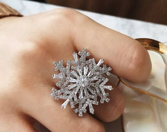Silver snowflake ring/Double snowflake ring/Rhinestone snow ring/Snow Spinner ring/Delicate snow ring/Snow adjustable ring/Statement ring/