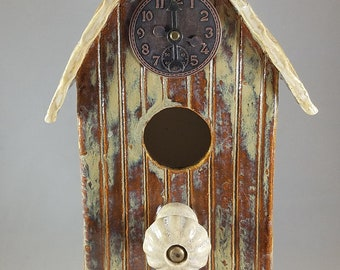 Pottery Handmade Birdhouse Decorative Indoors Outdoors Bird House Garden or Home Decor Owls, Green and Brown