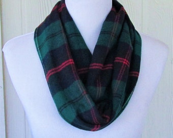 Green Plaid Infinity Scarf Flannel Scarf, Winter Scarf, Necklace Scarf, Women's Scarves, Eclectasie