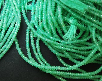 13.5'' Super Finest, Hard to Find Quality,  Natural  Chrysoprase Faceted Rondelles, Size 3mm